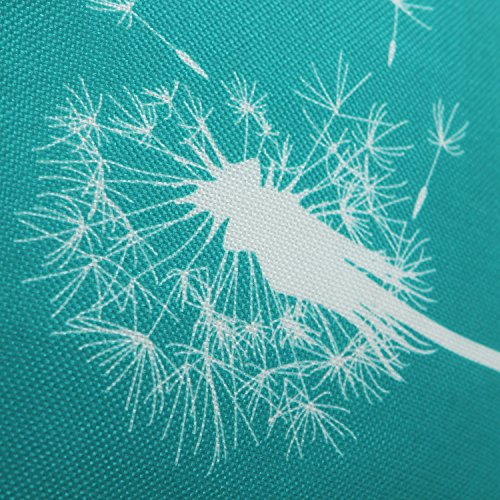 Pack of 2 CaliTime Canvas Throw Pillow Covers Cases for Couch Sofa Home Decor, Dandelion Print, 18 X 18 Inches, Teal