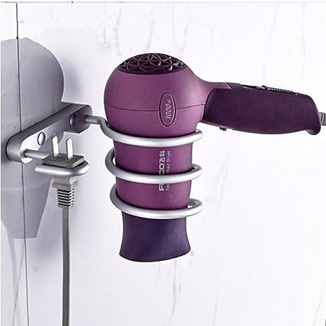 Soporte de aluminio para secador de pelo, soporte de pared para baño con espiral para secador de pelo, soporte para alisador de pelo Milano Tamaño libre ...