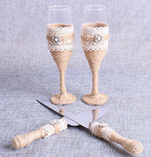 Set of 4, Wedding Toasting Glasses and Cake Knife Serving Set Rustic Decor Burlap Champagne Flutes