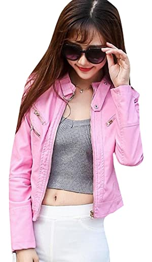 Comfy Women Rider Style Fitted Short PU Leather Jackets Coat