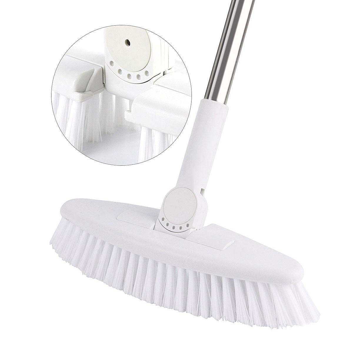Floor Scrub Brush with Adjustable Long Handle-52'', GeeRo Swivelled Multi-Angle Stiff Bristle Grout Brush Scrubber for Cleaning Tub & Tile, Bathroom, Floor, Wall and Kitchen