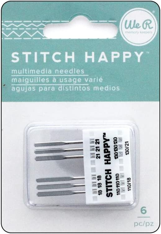 We R Memory Keepers We R Memory Stitch Happy Machine Needles 18/21 6pc American Crafts Variety Pack Agujas, Multicolor, Juego de 6, Talla única