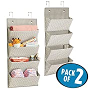 mDesign Soft Fabric Over the Door Hanging Chevron Storage Organizer with 4 Large Pockets for Child/Baby Room, Nursery, Playroom – Hooks Included - Pack of 2, Zig Zag Geometric Pattern in Taupe/Natural