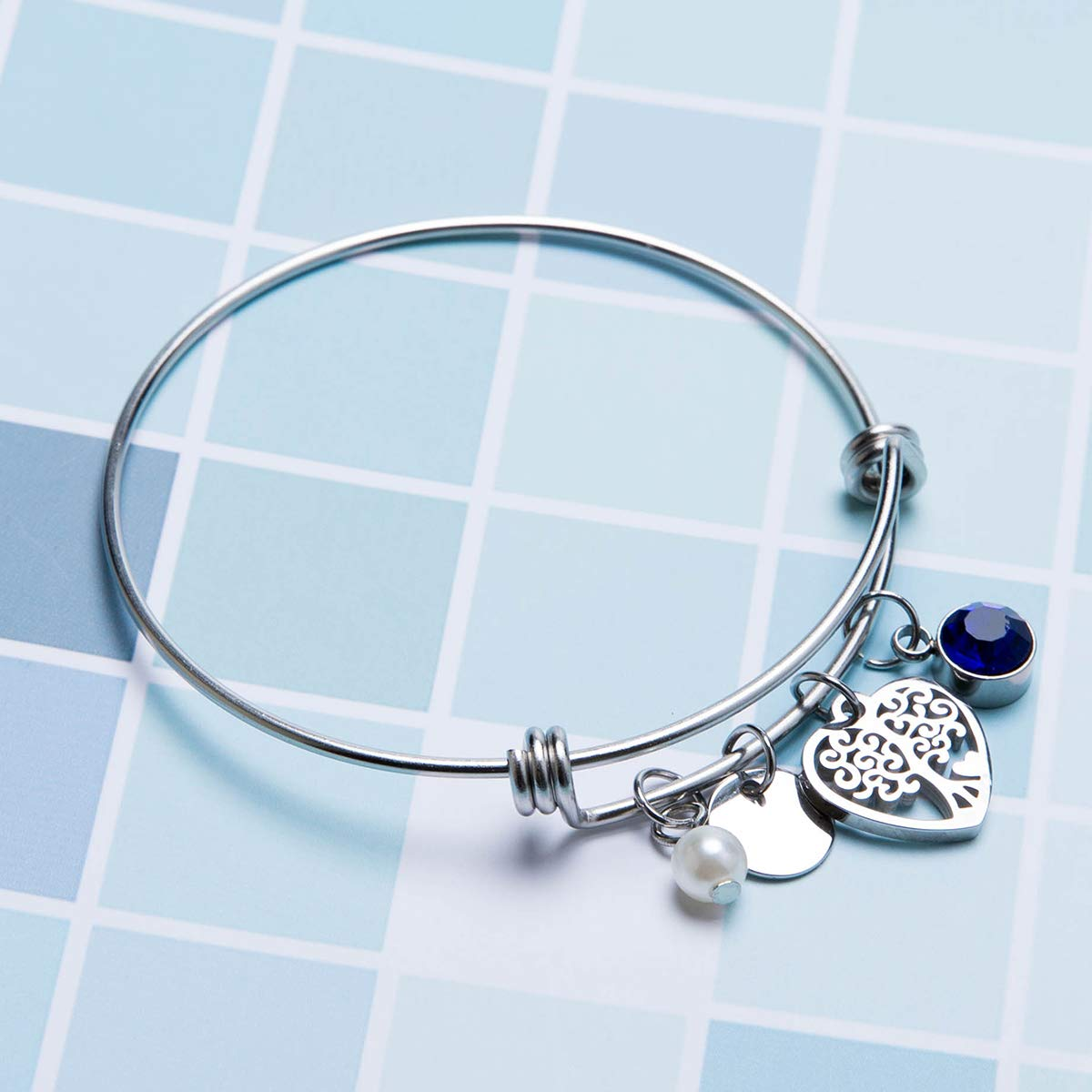 Choose Your Birthstone Fanery Sue Personalized Birthstone Bangle Cuff Expandable Charm Bracelet Custom Engraved Name Message