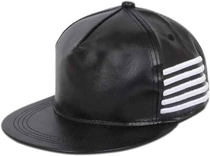 ea33bf9f627 ALAMOS Stylish Black Leather Hip-Hop Cap  Amazon.in  Clothing ...