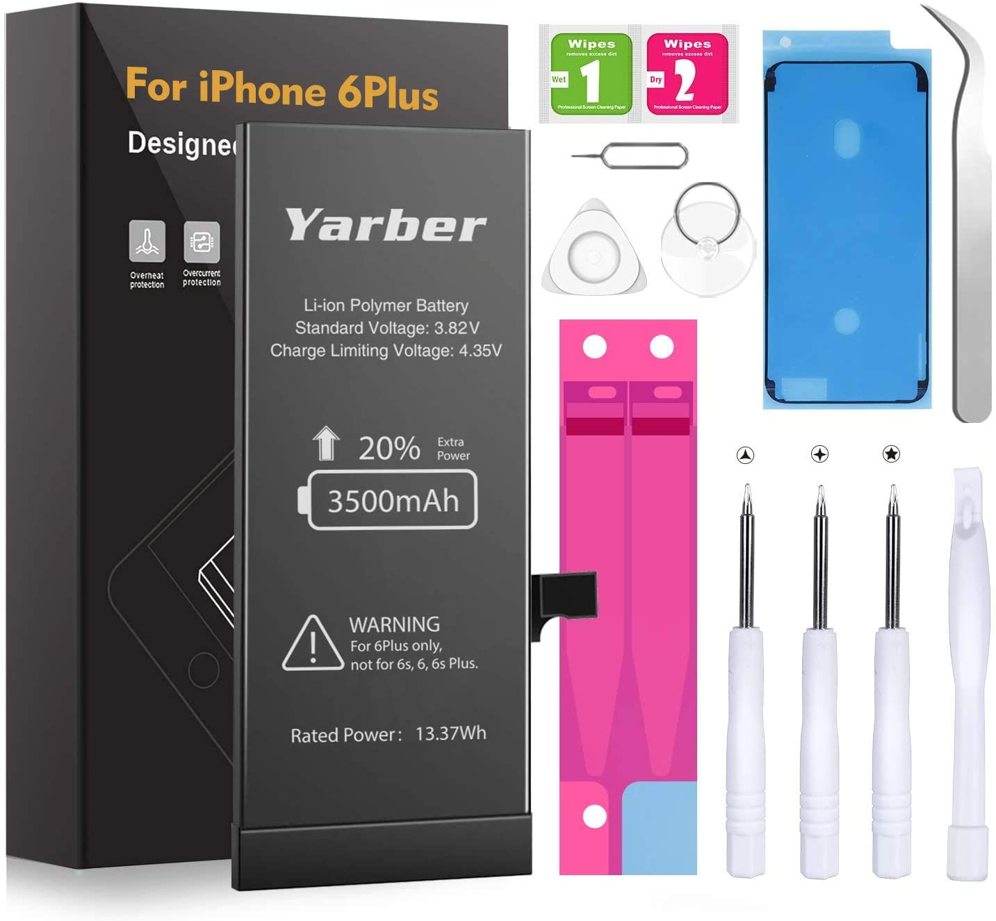 Upgrade iPhone 6 Plus Battery, Yarber 3500mAh High Capacity Li-ion Battery New 0 Cycle, with Complete Replacement Tool Kits