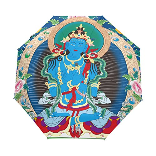 Tibetan Buddhist Thangka UPF 50+ Anti-UV Parasol Waterproof Windproof 3 Folds Auto Open Close Lightweight Umbrella