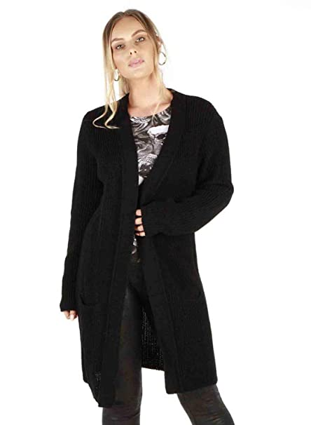 LADIES NEW LONG SLEEVE OPEN FRONT KNITTED CARDIGAN WITH 2 POCKETS