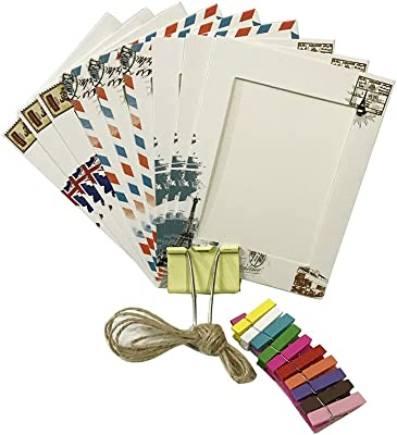 JUIOKK 9PCS/Set Postmark Paper Photo Frames for Wall Decor Hanging,DIY Picture Frame with 9PCS Mini Clothespins + 2M Jute Rope