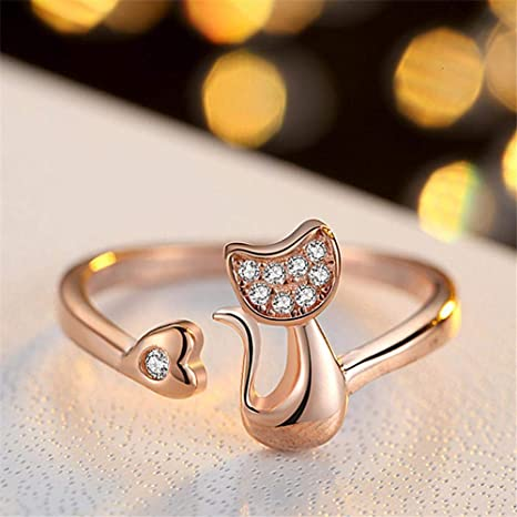Amazon.com: Daeou Open Ring Cat Shaped Diamond Opening Copper Ring Electroplating Allergy Ring Birthday Present to Friends and Family: Sports & Outdoors