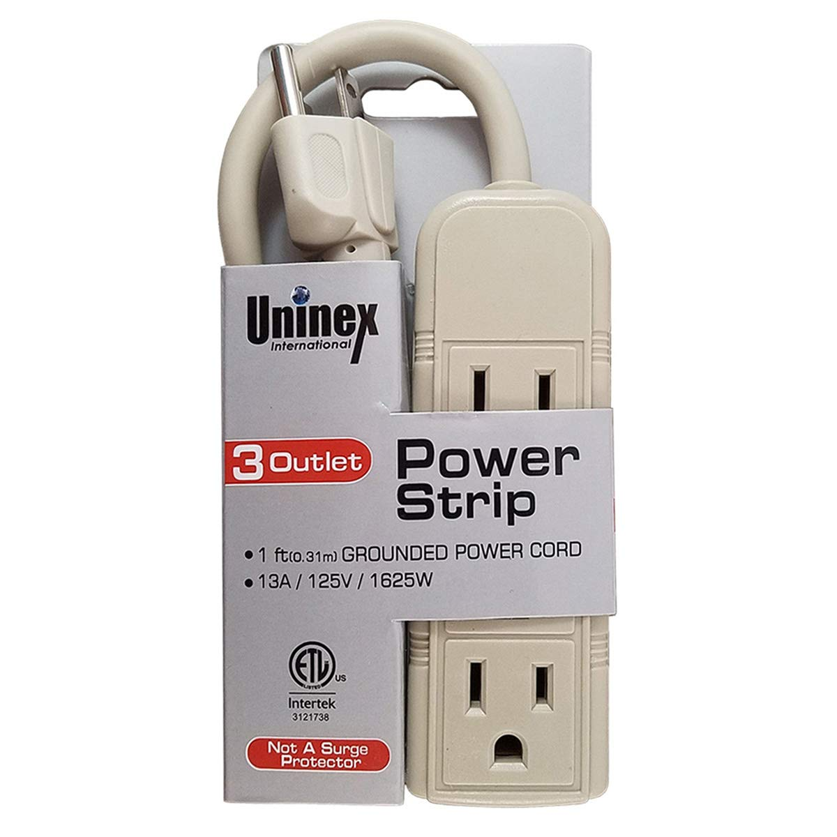 Uninex PS28E Compact Grounded 3-Outlet Power Strip ETL Listed, 1-Foot, 10-Pack