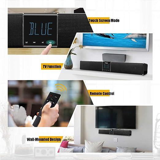 WHCCL Barra de Sonido, TV Altavoz Bluetooth Altavoces duales portátiles Pantalla LED Control táctil, para TV, PC, teléfono Celular, proyector de tabletas, con Control Remoto: Amazon.es: Hogar