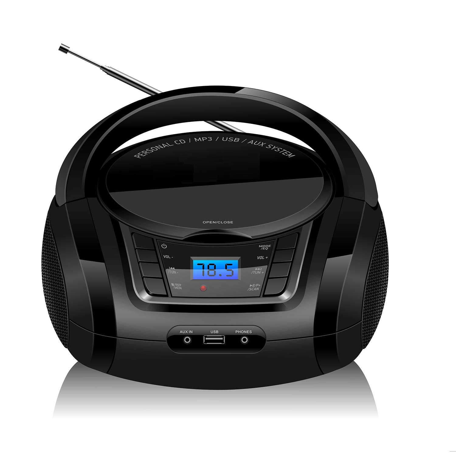 LONPOO CD Player Portable Boombox FM Radio, Bluetooth4.0 MP3/CD Player, with Aux-in, USB&Headphone Jack