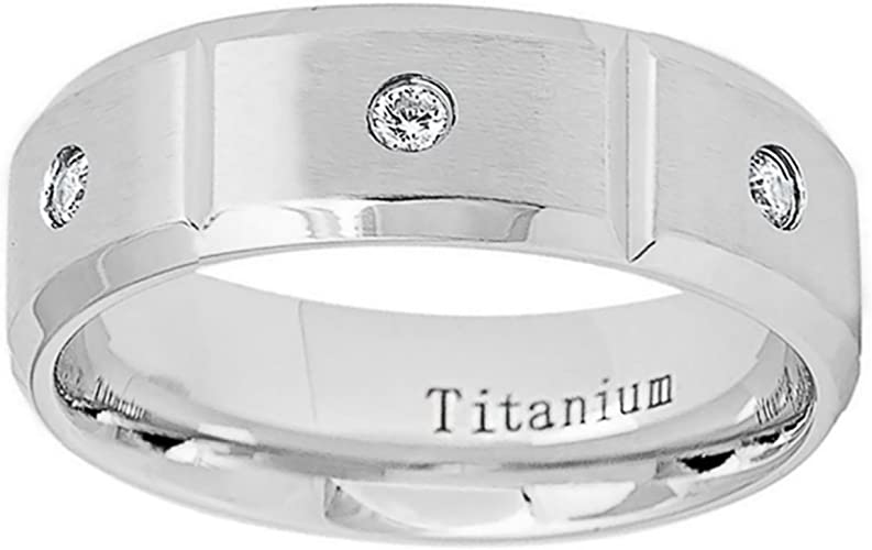 Bridal Titanium Beveled Edge 8mm Brushed and Polished Band