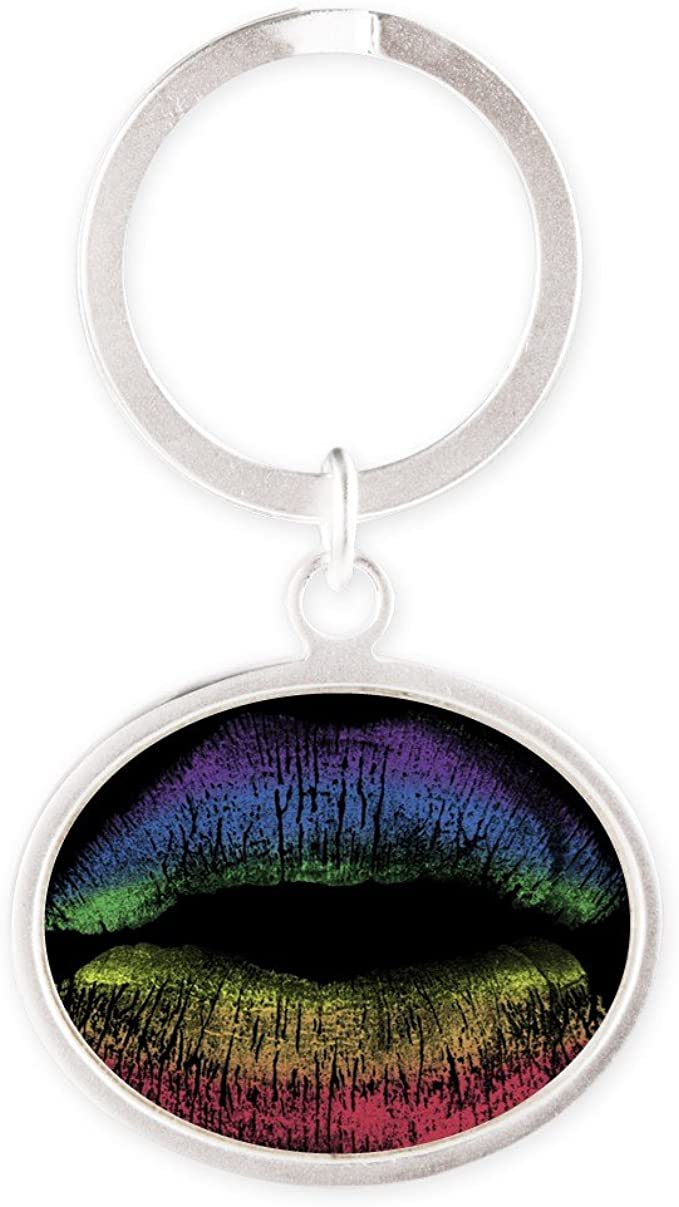 Silver Oval Necklace Gay Pride Flag Rainbow Lips