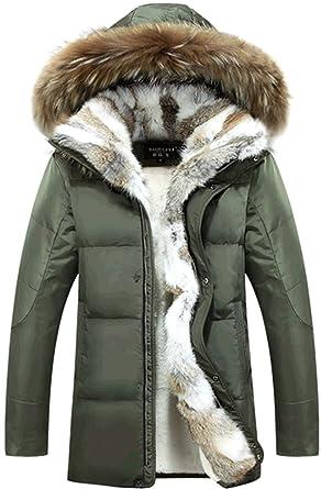 K3K New Mens Fashion Warm Coats Fur Collar Leather Down Jacket