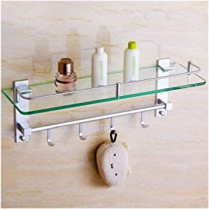 YTEVYT Bathroom Shelf Square Bathroom Shelves, Aluminum and Tempered Glass Wall-Mounted Bath Organizer Shelf with Hooks ZPHP-9.16WZj (Color : Linked to Ordinary Models, Size : 60m)