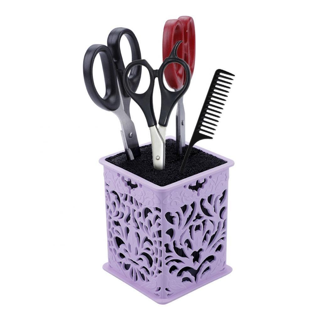 Scissors Combs Clips Holder Box, Professional Salon Scissors Organizer Rack, Hairdressing Barber Desk Desktop Storage Case for Hair Stylist Office Home(Purple)