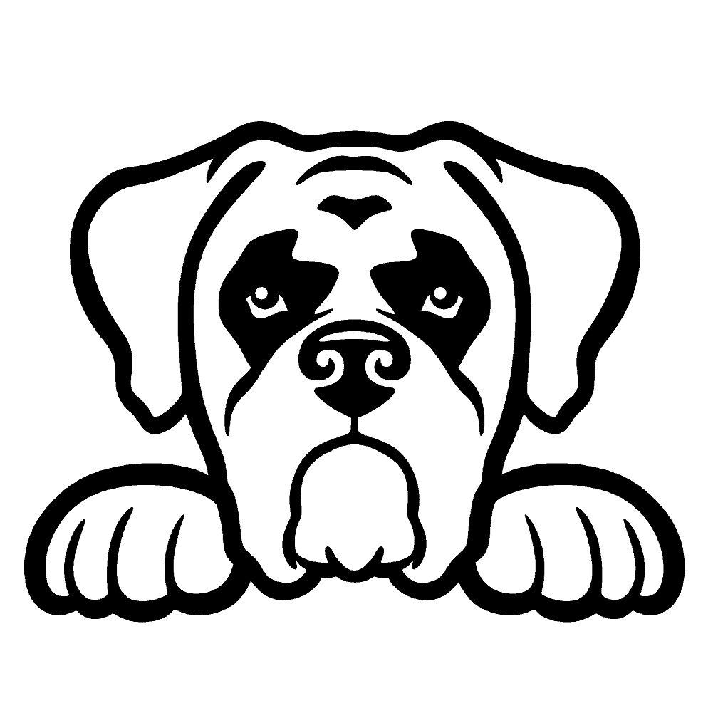 ボクサー犬Peeking v1ビニールデカールby stickerdad – サイズ: 5インチ、カラー:ブラック – Windows、壁、バンパー、ノートパソコン、ロッカー、など  B079LZMG5H