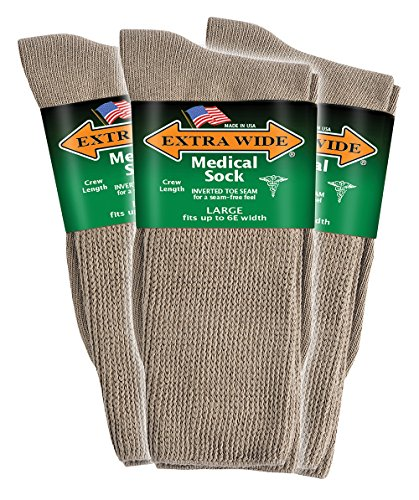 Extra Wide Men's Tan Medical (Diabetic) Mid Calf Crew Sock, Shoe Size 11 - 16 Up to 6E Wide 3PK, Antimicrobial, Made (Best Diabetic Supply Company)