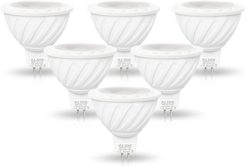 ALIDE MR16 3W Led Bulbs 20W Halogen Equivalent,2700K Soft Warm White,12V GU5.3 MR16 Low Voltage Bulb Spotlights for Outdoor Landscape Flood Yard Garden Track Lighting,Not Dimmable,270lm,38 Deg,6 Pack
