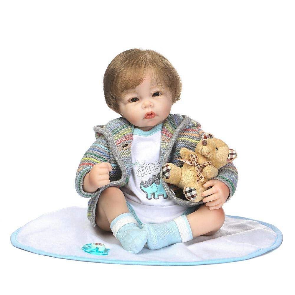 Domybest Muñeca de Silicona Reborn Renacido Bebé 50cm, Juguetes rellenos suaves realistas