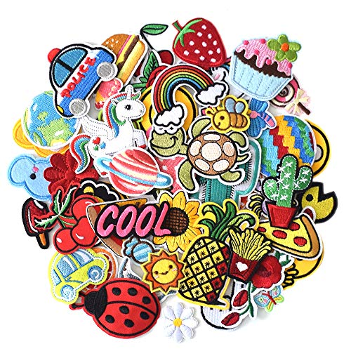 J.CARP 60Pcs Random Assorted Iron on Patches, Cute Sewing Applique for Jackets, Hats, Backpacks, Jeans, DIY Accessories, Style 1