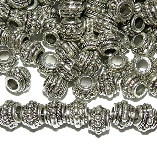 Pendant Jewelry Making Antiqued Silver Rope & Dot Rimmed 8mm Rondelle Drum Metal Bead 100pc