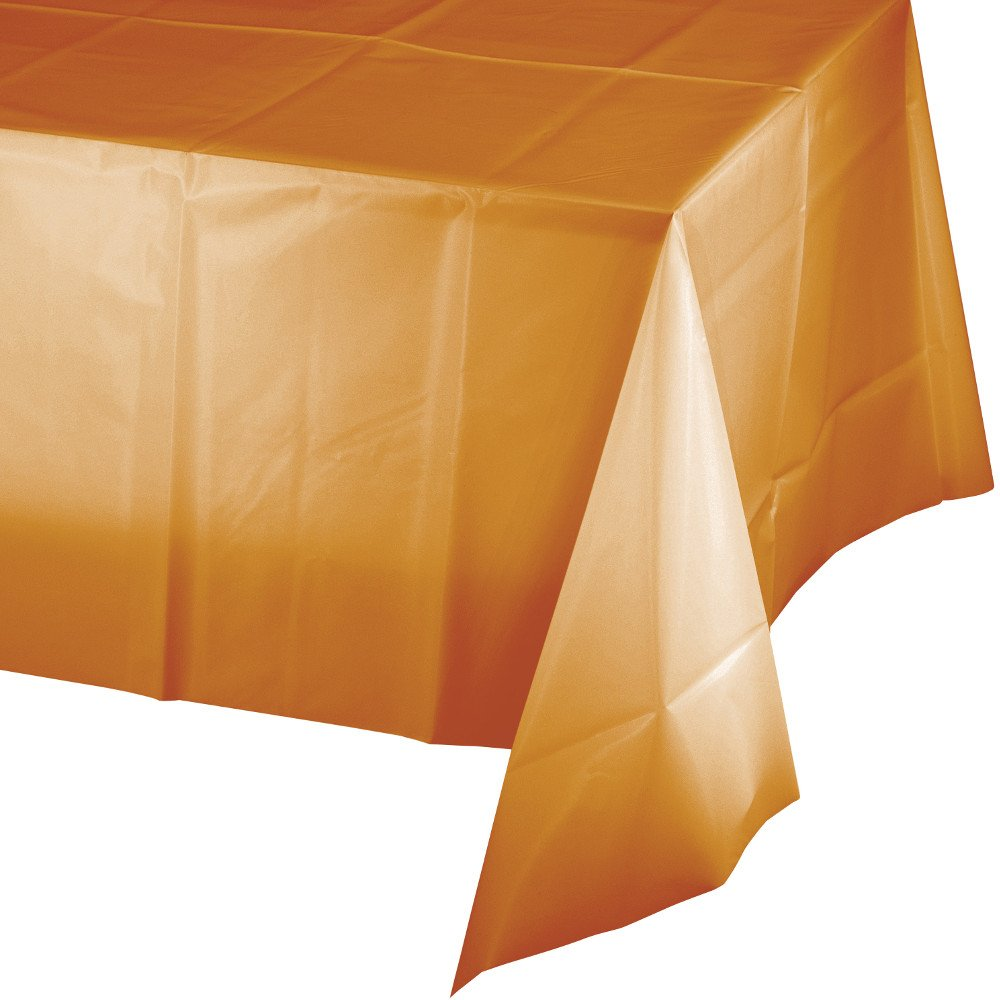 Creative Converting 12 Count Touch of Color Plastic Table Cover, 54'' x 108'', Pumpkin Spice