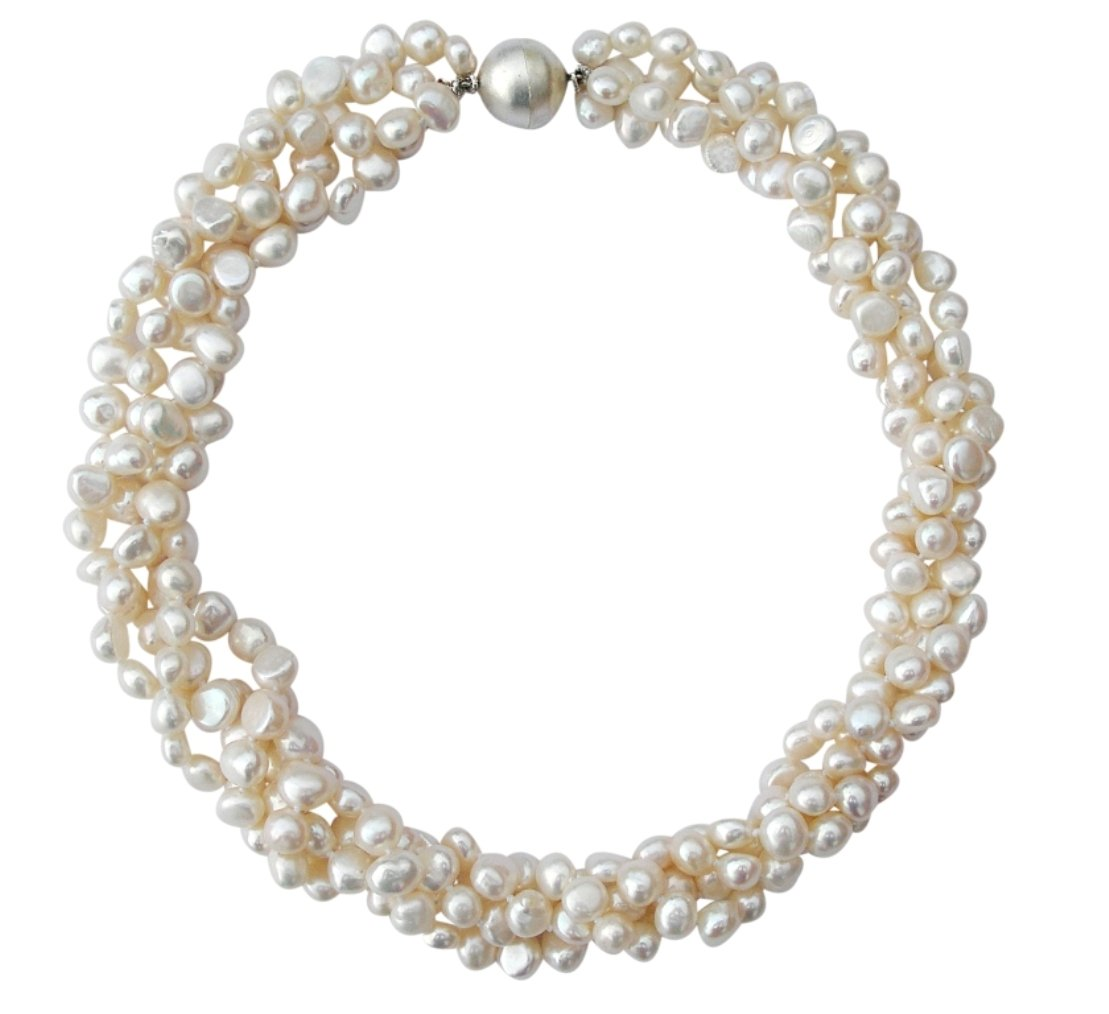 White Baroque Cultured Pearl Four Strand Chunky Necklace With Round Silver Magnetic Clasp