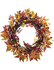 HBlife 24 Inch Fall Door Wreath Berry Wreath Autumn Wreath Fall Leaf Flower Harvest Wreath for Front Door Thanksgiving Halloween Fall Decorations Home Decor