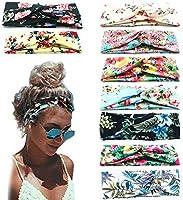 Beach Headbands for Women, 9 Pack Women's Boho Headbands for Women Girls Wide Bohemian Knotted Yoga Headband Head Wrap...