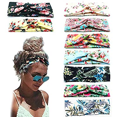 Beach Headbands for Women, 9 Pack Women's Boho Headbands for Women Girls Wide Bohemian Knotted Yoga Headband Head Wrap…