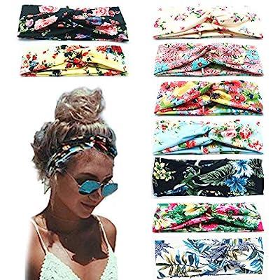 Beach Headbands for Women, 9 Pack Women's Boho Headbands for Women Girls Wide Bohemian Knotted Yoga Headband Head Wrap…