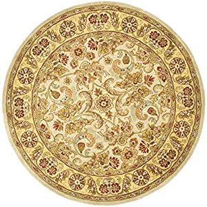 """Safavieh Classic Collection CL324B Handmade Grey and Light Gold Wool Round Area Rug, 3 feet 6 inches in Diameter (3'6"""" Diameter)"""