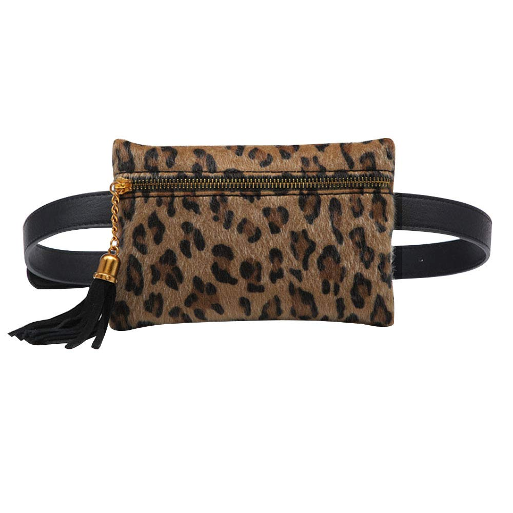 Fashion Women Waist Bag Mini PU Leather Travel Bumbag Retro Fanny Pack Cell Phone Pouch Tassels