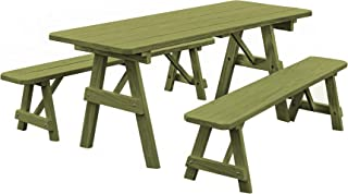 product image for Pressure Treated Pine 5 Foot Picnic Table with Detached Benches-Linden Leaf Stain