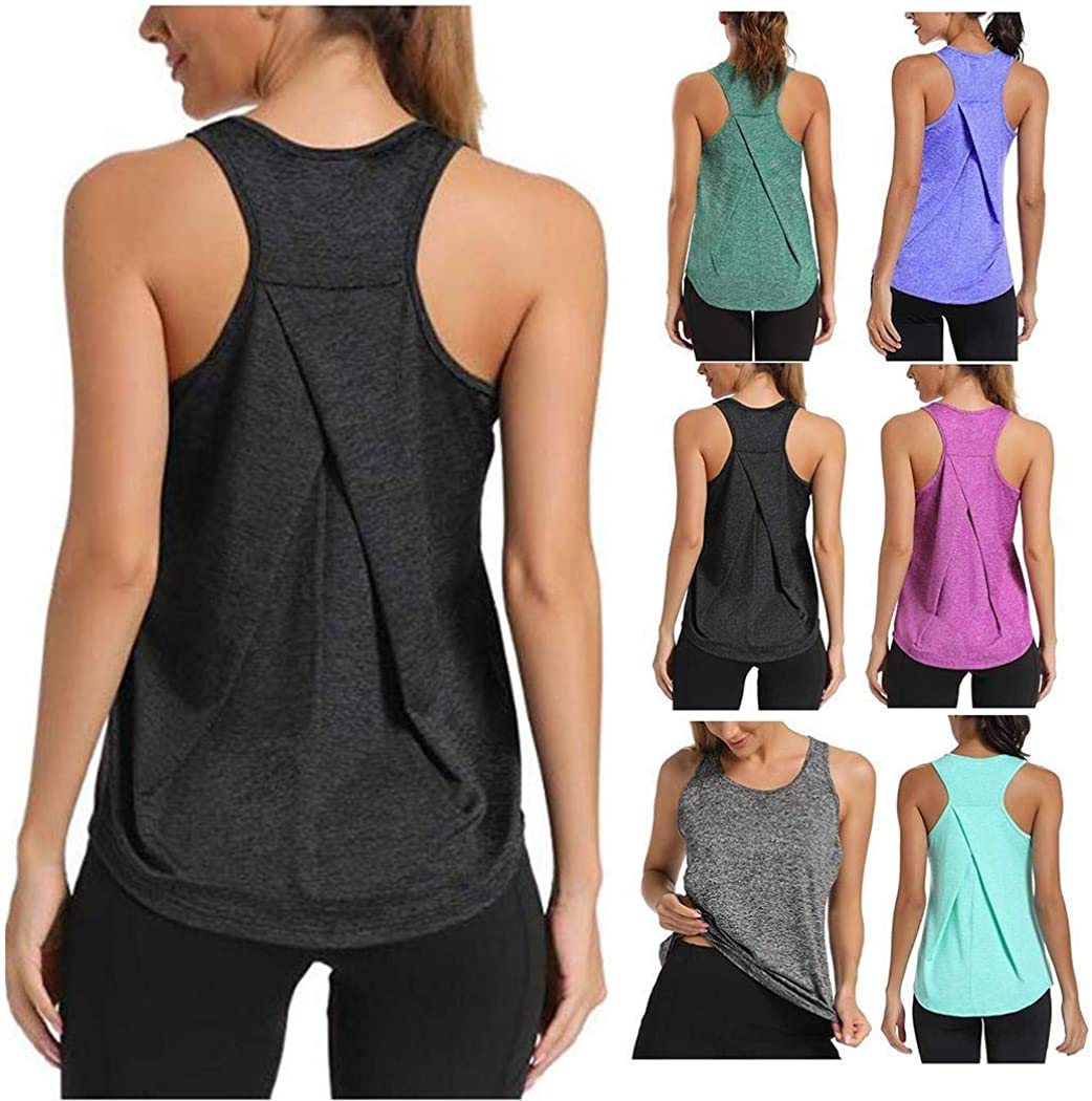 RIBITENS Women Yoga Vest O-Neck Quick Dry Tank Top gor Running Gym Jogging