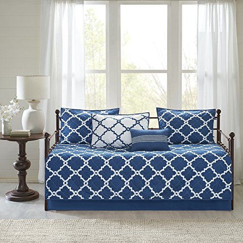 N2 6 Piece Navy Blue White Medallion Daybed Set, Geometric Trellis Ikat Jacquard Lattice Diamond Shape Pattern Day Bed Lounge Bedding Ottoman Resting Place Bedroom Bedskirt Pillows, Polyester by N2