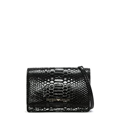 33713a58bee1 Emporio Armani Cholita Black Patent Reptile Cross-Body Bag Black Reptile