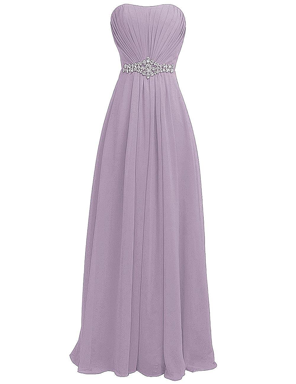 Light Purple H.S.D Women's Strapless Rhinestone Sash Long Bridesmaid Dress Evening Gown