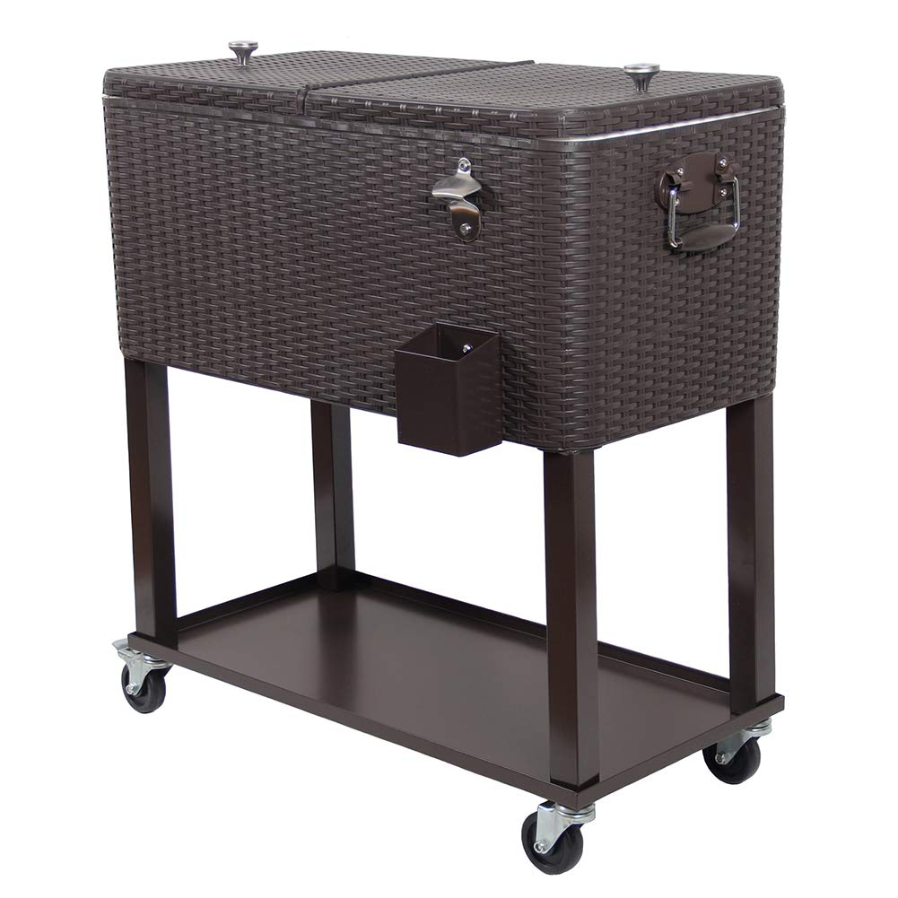 UPHA 80 Quart Rolling Outdoor Patio Cooler Cart on Wheels, Wicker Pattern Portable Drink Beverage Bar for Patio Pool Party, Ice Chest with Shelf and Bottle Opener, Brown by UPHA
