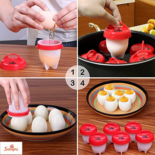 Hard Boiled Egg Cooker Prime without the Shell, Non-Stick Silicone, Soft Maker Egg Poacher, 6 PACKS by Samps (Image #1)