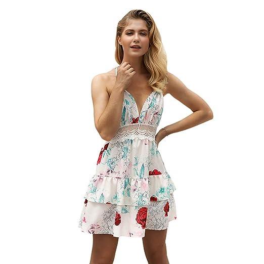 Vestido Mujer Sexy, Vestido Verano Mujer, Las Mujeres del Verano del Vestido Atractivo del Halter Las Hojas Impresas Ahuecan hacia Fuera el Viaje sin ...