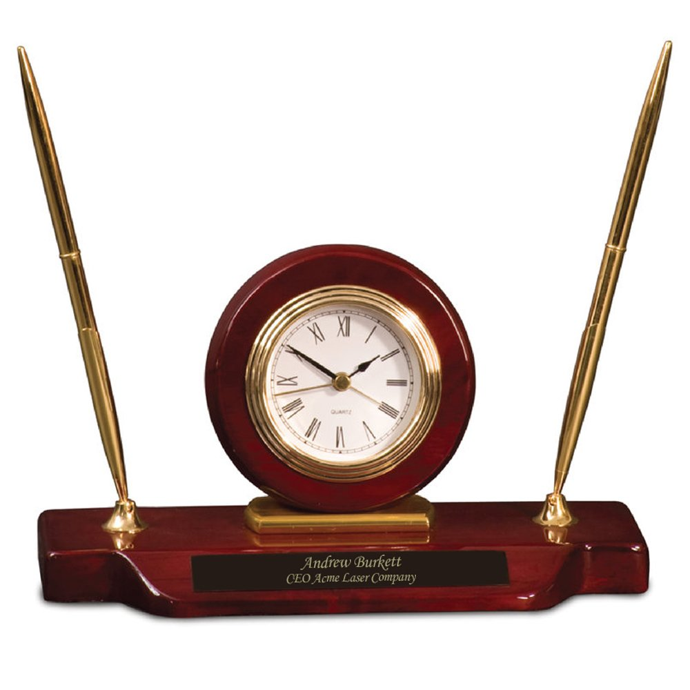 Dayspring Pens   Personalized Woodmark Stinson Desktop Clock & Pen Set. Custom Gift Clock and Pen Set with Fast 1 Day Engraving
