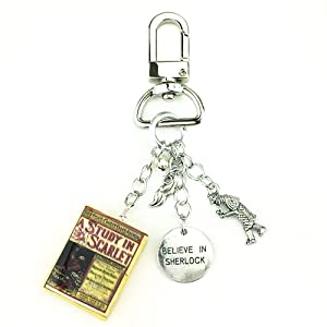 Sherlock Holmes A Study in Scarlet Clay Mini Book Key Chain Ring Bag Purse Backpack Clip Loop Clasp