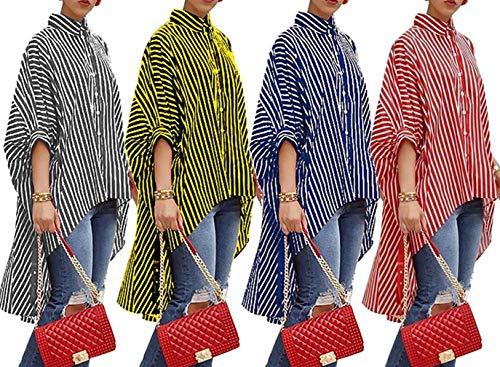 Raye Casual Chemises Tops Chemisiers Lache Femmes JackenLOVE Hauts Irrgulier Tee Souris Automne Blouses Printemps Bleu Chauve Shirts Mode Manche wx1Xqg0
