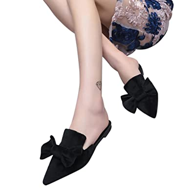d6001abd6 Fheaven Women s Flat Sandals Solid Color Bow Pointed Toe Loafers Slipper  (US 6.5