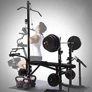 NoxwB Gym Equipment for Home Multifunctional Weight-Lifting Bed Machine Fitness High Tension bar Household Dumbbell Stool Barbell Indoor