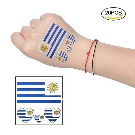Baifeng Adhesivo Decorativo para Tatuaje con la Bandera de Uruguay de Las 32 Naciones de la